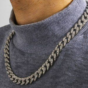 Men's Iced Out Silver Miami Necklace Chain